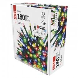 Oswietlenie-choinkowe - lampki choinkowe o długości 18m multicolor 180xled zielony przewód, 8 programów, ip44 d4am09 emos
