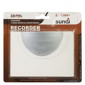 Dzwonki-do-drzwi-przewodowe - dzwonek przewodowy z funkcją nagrywania recorder 8-230v ecru dnu-210-ecr zamel