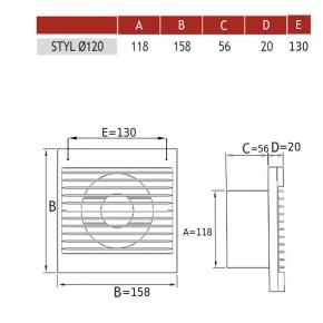 Wentylator osiowy z przepustnicą włącznikiem czasowym oraz czujnikiem wilgoci higrostatem STYL 120WCH P  007-0010p DOSPEL