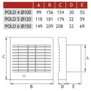 Wentylatory-standardowe - wentylator osiowy z wyłącznikiem sznurkowym  fi 100 007-0056 polo 4  dospel