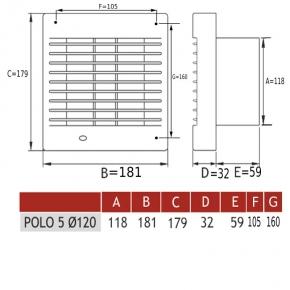 Wentylatory-standardowe - wentylator osiowy biały z automatyczną żaluzją  fi 120 mm  polo 5 dospel