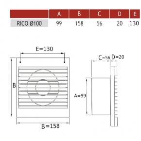 007-4202 Wentylator do łazienki z wyłącznikiem pociąganym i przewodem RICO 100 DOSPEL