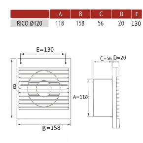 Wentylatory-z-wylacznikiem-czasowym - 007-4206 wentylator łazienkowy z timerem rico 120 wc dospel