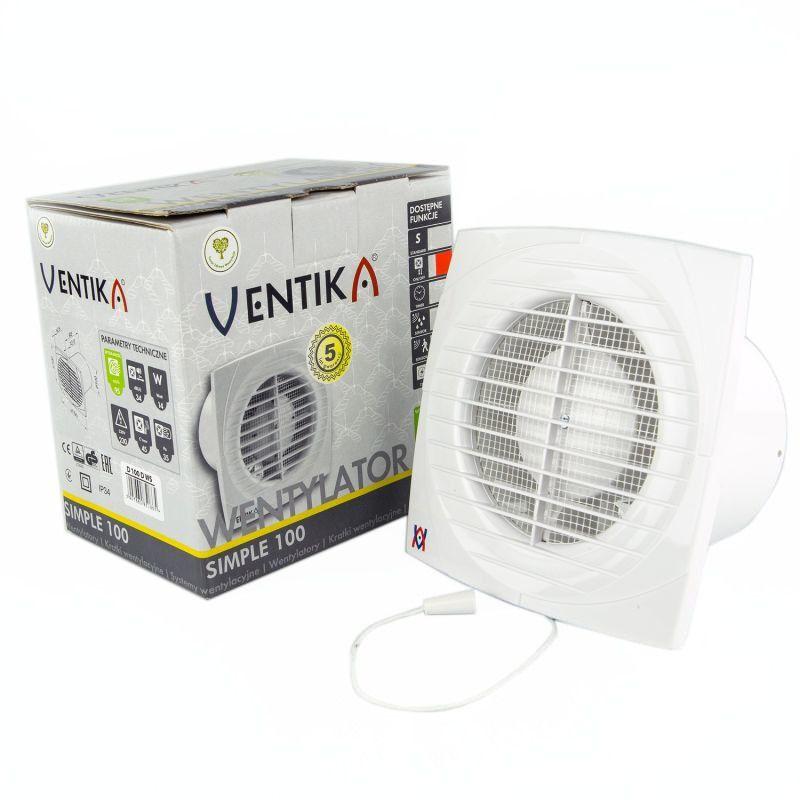 Wentylatory-o-srednicy-100 - wentylator łazienkowy wywiewny  ø100 z wyłącznikiem sznurkowym simple d 100d ws 14w 95m3/h biały ventika vents firmy VENTS