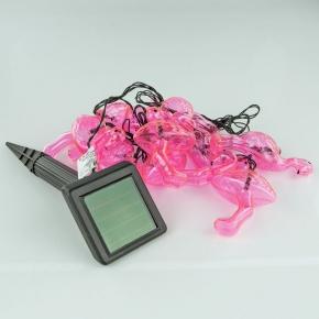 Lampy-solarne - girlanda solarna 2m 10xled różowe flamingi ip44 6500k polux
