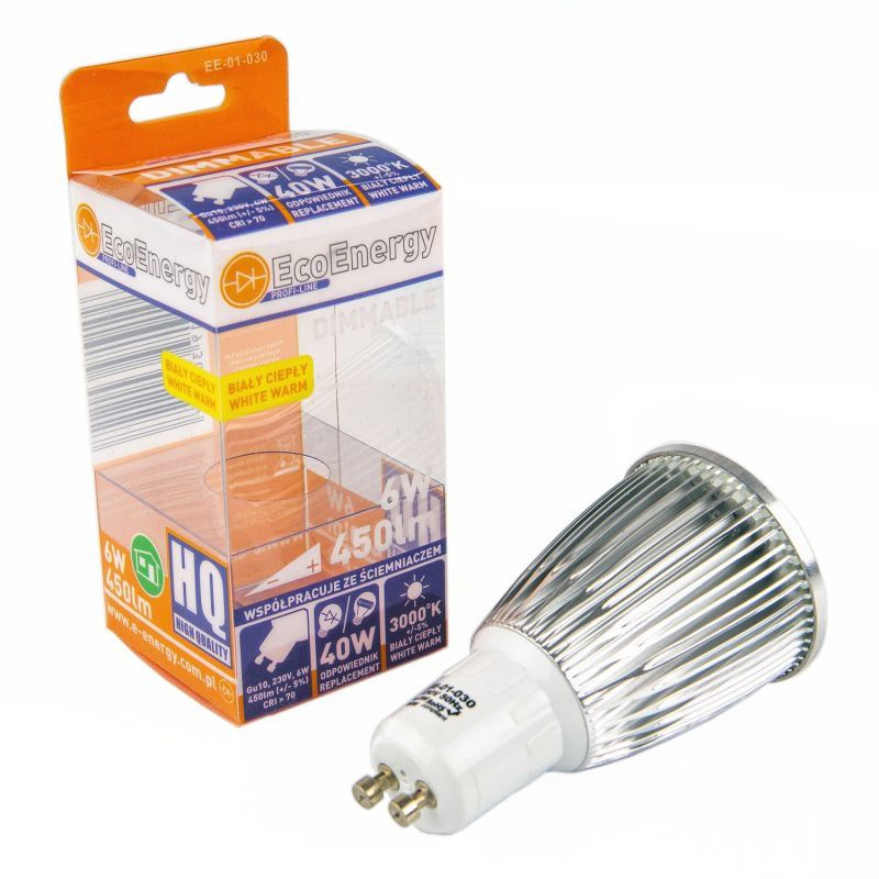 Bardzo dobra Żarówka LED GU10 ściemnialna ciepła 6W 450lm 3000K EE-01-030 EcoEnergy IX97