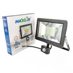 Naświetlacz LED SMD 50W z czujnikiem ruchu IP65 3850lm 6000K zimny 160° czarny MAXLED SUPRA