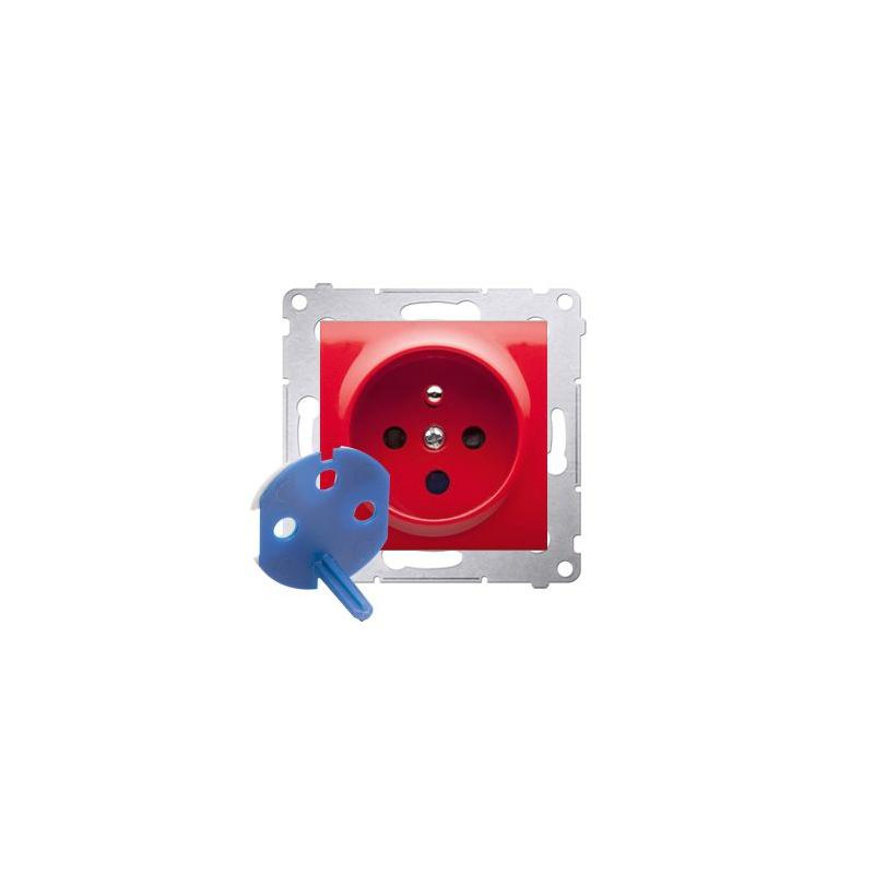 Gniazda-elektryczne - czerwone gniazdo pojedyncze data z kluczem uprawniającym do ramek nature i premium dgd1.01/22 simon 54 kontakt-simon firmy Kontakt-Simon