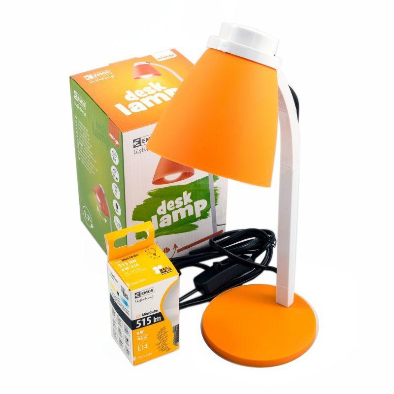 Lampka na biurko pomarańczowa Lolli z żarówką LED 6W E14  EMOS Z7597O