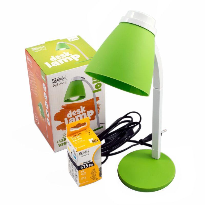 Zielona Lampa biurkowa Lolli z żarówką ledową 6W E14 EMOS Z7597G