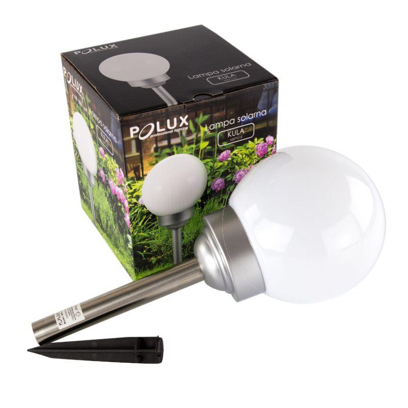 Lampy-kule-ogrodowe - srq10271l lampa solarna do ogrodu kula mleczna polux  309303 firmy POLUX