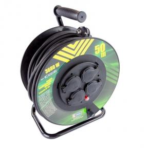 Przedłużacz bębnowy z uziemieniem czarny guma 50m 4 gniazda 1.5mm23680W P084501 EMOS