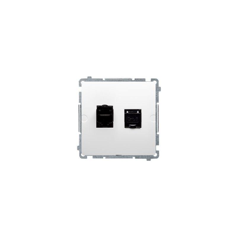 Gniazda-komputerowe - gniazdo komputerowe podwójne rj45 kat6, z przesłoną białe bm62.01/11 simon basic kontakt-simon firmy Kontakt-Simon
