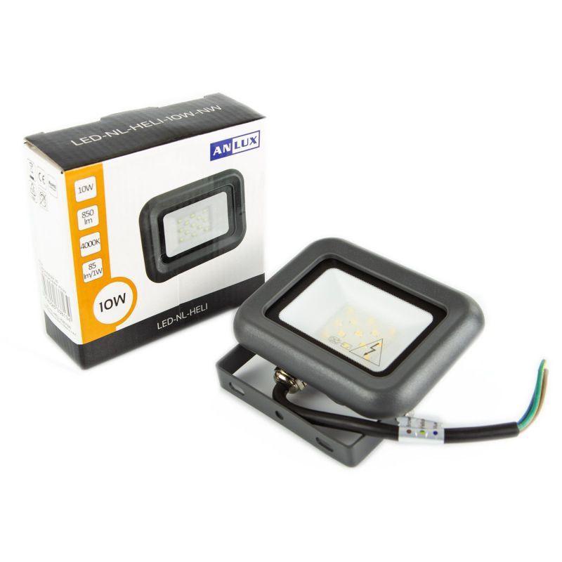 Naswietlacze-led-10w - naświetlacz led 10w grafitowy led-nl-heli-10w-nw  850lm 120° ip65 4000k naturalny anlux firmy ANLUX