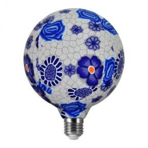 Żarówka dekoracyjna led z kwiatowym motywem 4W LED GLOB FOLK BLUE G125 E27 2200K 360° POLUX