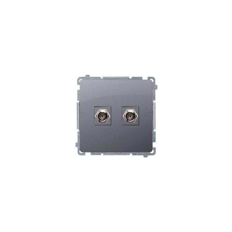 """Gniazda-antenowe - gniazdo antenowe typu """"f"""" podwójne srebrny mat  bmaf2.01/43 simon basic kontakt-simon firmy Kontakt-Simon"""
