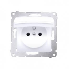 Gniazdo pojedyncze  z białą klapką do wersji IP44 bez uszczelki do ramek Premium DGZ1BUZ.01/11 Simon 54 Kontakt-Simon