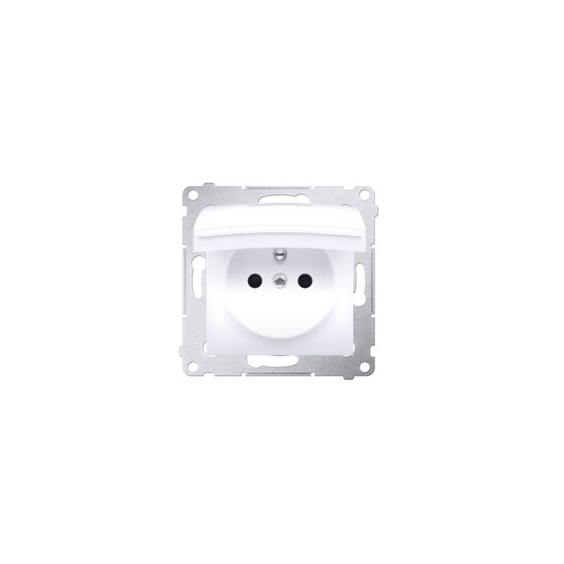 Gniazda-pojedyncze-podtynkowe - gniazdo pojedyncze  z białą klapką do wersji ip44 bez uszczelki do ramek premium dgz1buz.01/11 simon 54 kontakt-simon firmy Kontakt-Simon