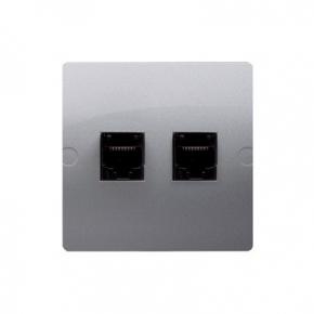 Gniazda-komputerowe - gniazdo komputerowe srebrne podwójne rj45 5e bmf52.02/43 simon basic kontakt-simon