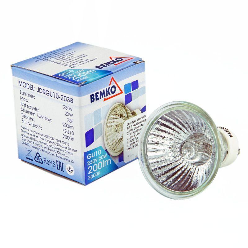 Gwint-trzonek-gu10 - żarówka halogenowa gu10 ciepła 20w 230v 3000k 200lm jdrgu10-2038 bemko firmy BEMKO
