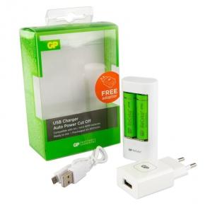 Ładowarka do baterii USB AA/AAA+2x baterie AA NiMH GP Recyko+