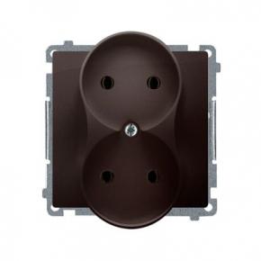 Gniazda-podwojne-podtynkowe - gniazdo wtyczkowe podwójne bez uziemienia czekoladowy mat 16a bmg2m.01/47 simon basic  kontakt-simon