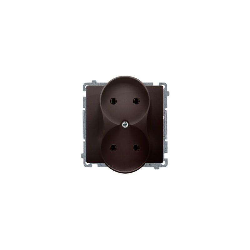 Gniazda-podwojne-podtynkowe - gniazdo wtyczkowe podwójne bez uziemienia czekoladowy mat 16a bmg2m.01/47 simon basic  kontakt-simon firmy Kontakt-Simon