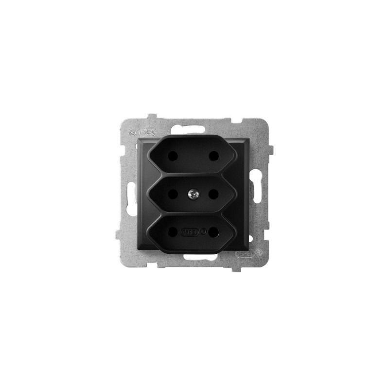 Gniazda-podwojne-podtynkowe - gniazdo potrójne euro czarny metalik gp-3u/m/33 aria ospel firmy OSPEL