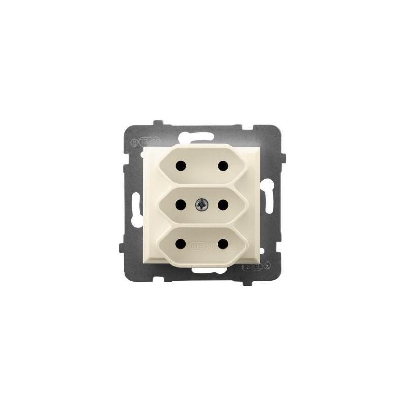 Gniazda-potrojne-podtynkowe - gniazdo potrójne podtynkowe euro ecru gp-3u/m/27 aria ospel firmy OSPEL