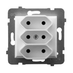 Gniazdo potrójne podtynkowe EURO białe bez uziemienia GP-3U/m/00 ARIA OSPEL