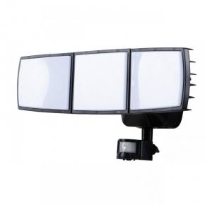 Naświetlacz LED z czujnikiem ruchu łamany na 3 strefy 30W IP65 2300lm 180° 6500k zimny czarny VO1870 VOLTENO