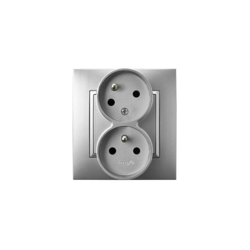 Gniazda-podwojne-podtynkowe - gniazdo podwójne z uziemieniem i funkcją niezamienności faz srebrne gp-2uc/18 aria ospel firmy OSPEL