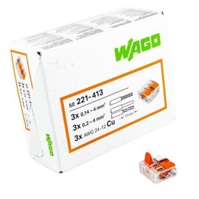 Szybkozlaczki - złączka uniwersalna 3x 0,14-4mm2 221-413 wago