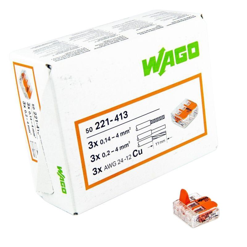 Szybkozlaczki - złączka uniwersalna 3x 0,14-4mm2 221-413 wago firmy WAGO