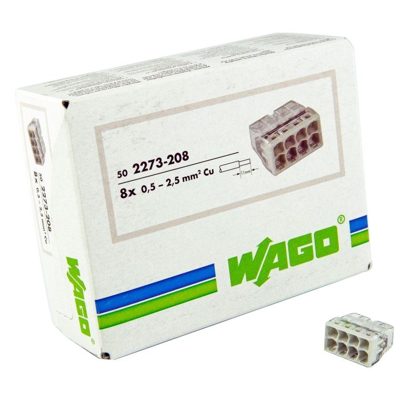 Szybkozlaczki - szybkozłączka do puszki instalacyjnej 8x0,5-2,5mm 2273-208 wago (op.-50szt.) firmy WAGO