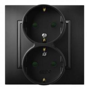 Gniazdo podwójne z uziemieniem schuko i przesłonami torów czarny metalik GP-2USP/33 ARIA OSPEL