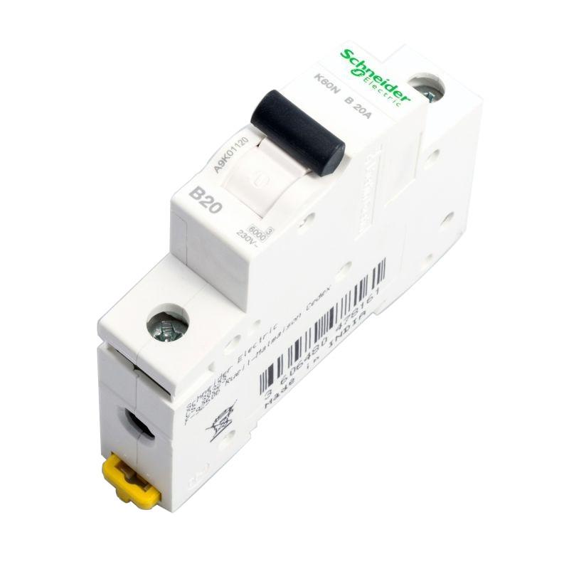 Wylaczniki-nadpradowe-bezpieczniki - wyłącznik nadprądowy 1p k60n b 20a a9k01120 schneider electric firmy Schneider Electric