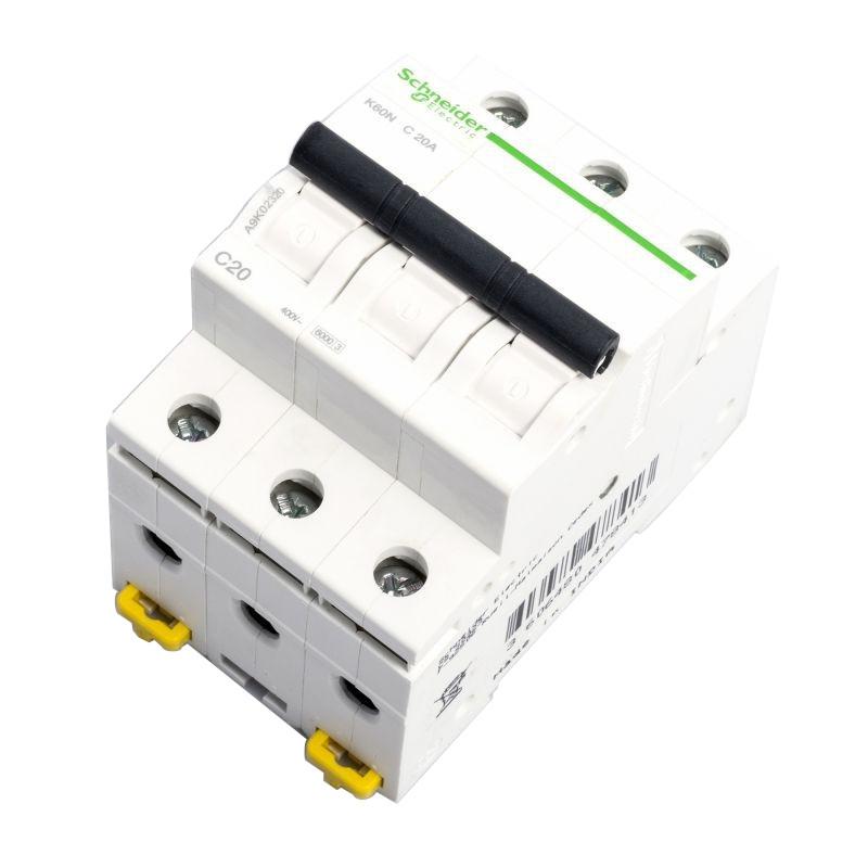 Wylaczniki-nadpradowe-bezpieczniki - bezpiecznik wyłącznik nadprądowy trójbiegunowy c 20a a9k02320 schneider electric firmy Schneider Electric