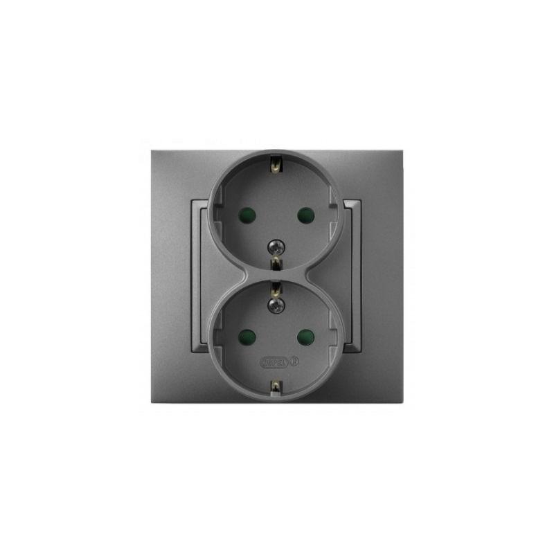 Gniazda-podwojne-podtynkowe - gniazdo podwójne z uziemieniem schuko z przesłonami torów srebrne gp-2usp/18 aria ospel firmy OSPEL