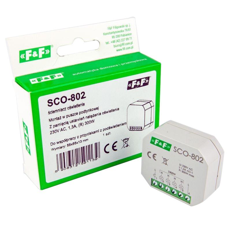 Sterowniki-i-odbiorniki - ściemniacz ośw. z pamięcią do puszki 230v 350w sco-802 f&f firmy F&F