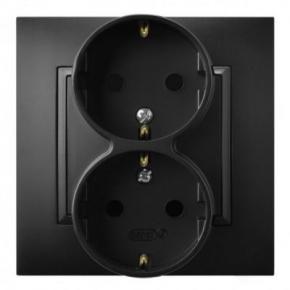 Gniazdo podwójne z uziemieniem schuko czarny metalik GP-2US/33 ARIA OSPEL
