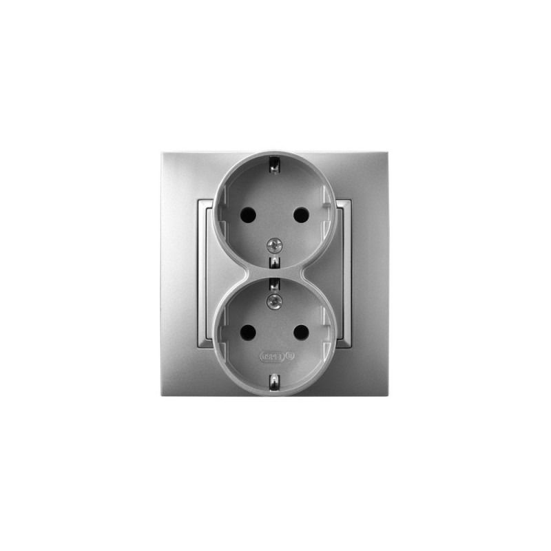 Gniazda-podwojne-podtynkowe - gniazdo podwójne z uziemieniem schuko srebrne gp-2us/18 aria ospel firmy OSPEL