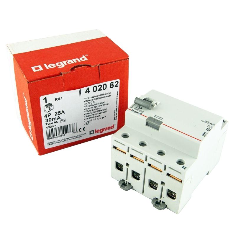 Wylaczniki-nadpradowe-bezpieczniki - wyłącznik różnicowoprądowy 4p 25a ac 402062 rx3 legrand firmy LEGRAND