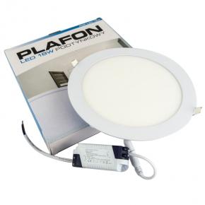 Plafony - plafon okrągły podtynkowy biały 4000k pop led 18w plastrol