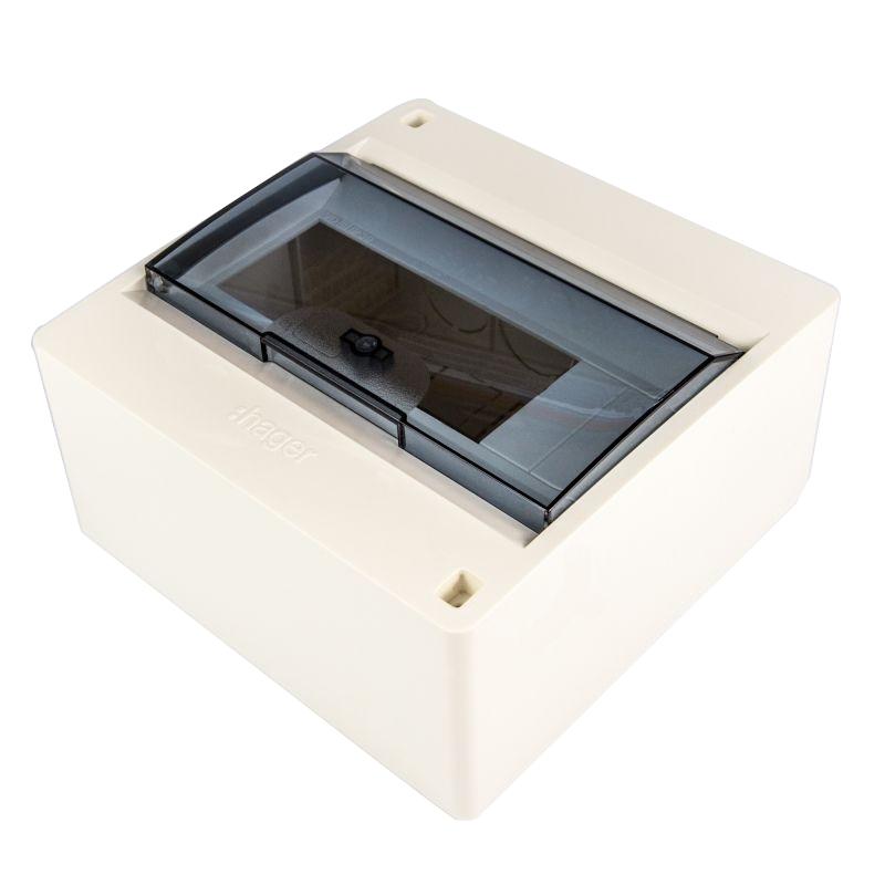 Skrzynki-elektryczne - rozdzielnica natynkowa biała z klapką transparentną 8 modułów vd108tp hager firmy HAGER