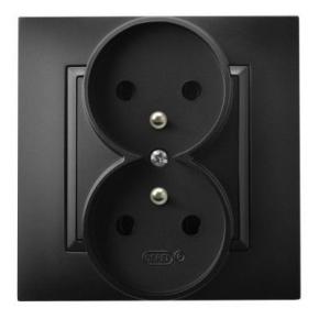 Gniazdo podwójne z uziemieniem czarny metalik GP-2UZ/33 ARIA OSPEL