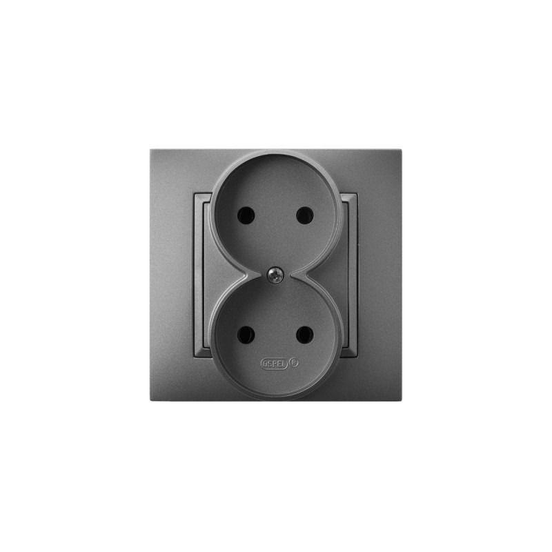 Gniazda-podwojne-podtynkowe - gniazdo podwójne podtynkowe szare matowe gp-2u/70 aria ospel firmy OSPEL