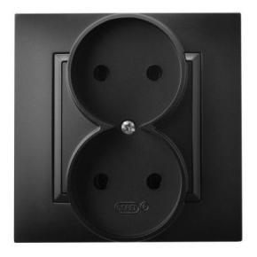 Gniazda-podwojne-podtynkowe - gniazdo podwójne elektryczne czarny metalik gp-2u/33 aria ospel