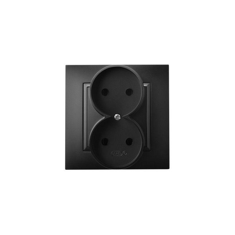 Gniazda-podwojne-podtynkowe - gniazdo podwójne elektryczne czarny metalik gp-2u/33 aria ospel firmy OSPEL