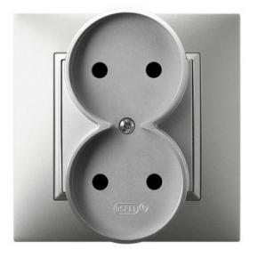 Gniazda-podwojne-podtynkowe - kontakt elektryczny podwójny srebrny gp-2u/18 aria ospel